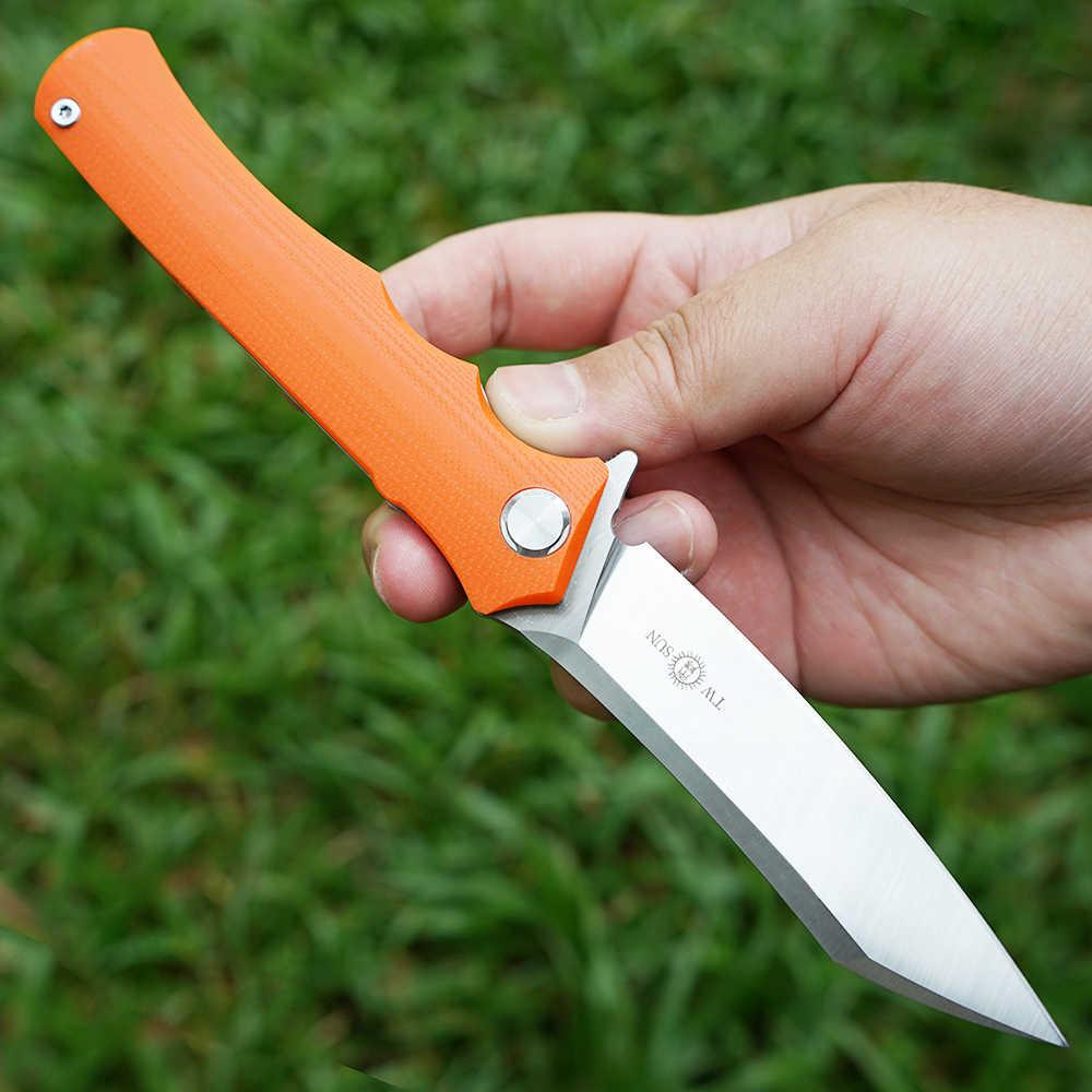 TWOSUN noże 14C28N ostrze składany scyzoryk nóż taktyczny camping polowanie narzędzia do pracy na zewnątrz EDC łożysko kulkowe szybko otwarte g10 TS124