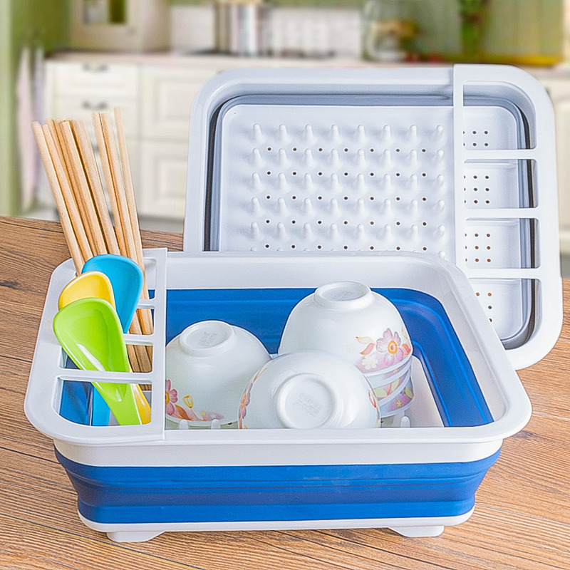 Foldable plastic drain dish rack Kitchen gadget telescopic belt sink storage cup holder