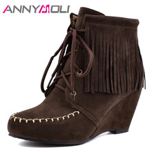 ANNYMOLI Winter Ankle Boots Women Boots Fringe Wedge High Heel Short Boots Lace Up Round Toe Shoes Ladies Autumn Large Size 4-12