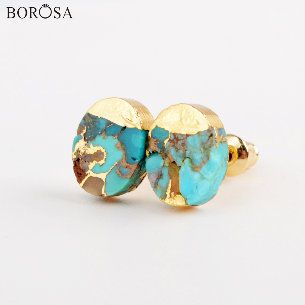 BOROSA Oval Shape Blue Turquoises Stud Earrings With Veins Fashion Natural Gems Stones Earrings For Women Retro Jewelry G1982