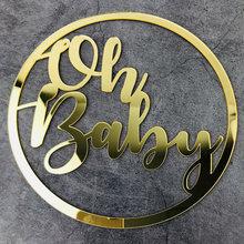 Acrílico de madeira oh sinal do bebê festa decorações do evento para o chuveiro do bebê decorações pano de fundo foto prop género revelar
