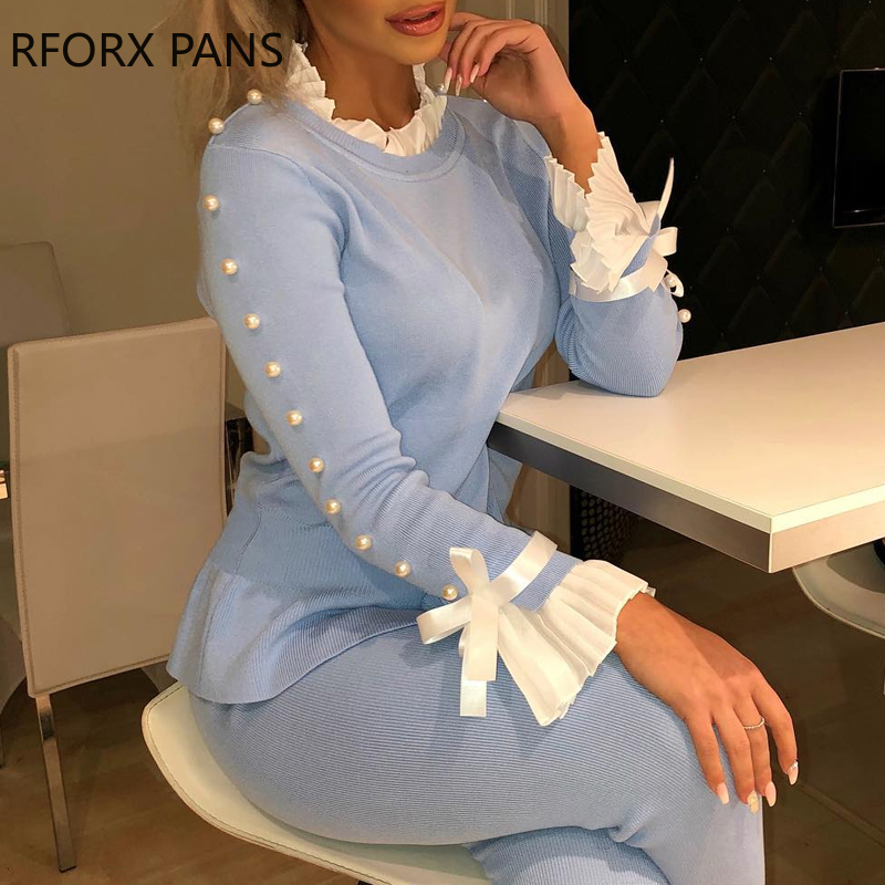 Lace Insert Bowknot Buttoned Bell Cuff Blouse Women Tops