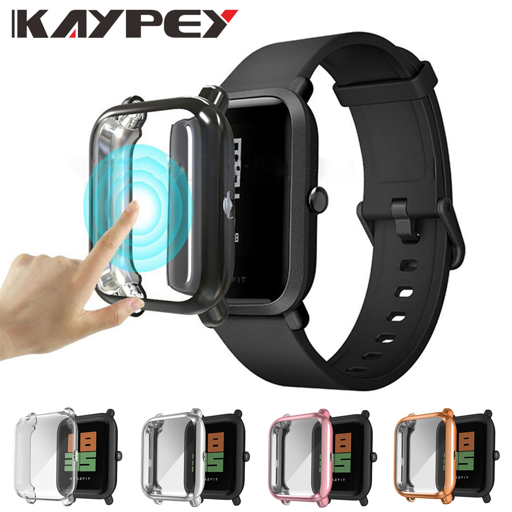 For Huami <font><b>Amazfit</b></font> Bip Case with Screen Protector <font><b>Film</b></font> For <font><b>Amazfit</b></font> Bip Accessories Bumper Plating TPU Smart Watch Case Protection image