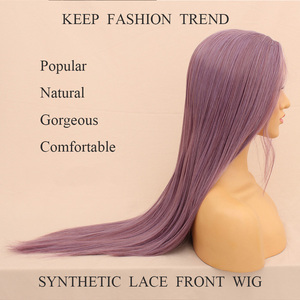Image 2 - Leeven 24 Silky Straight Hair Synthetic Lace Front Wig 613 Blonde Wigs For Woman Pink Copper Ginger Cosplay Wigs Baby Hair