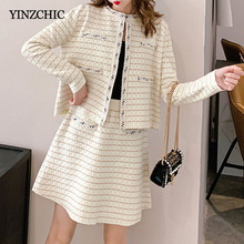 Elegant Woman Autumn Knitted Suits Office Lady Knit Open Stitch A-line Mini Skirt Sets New Solid Two-pieces