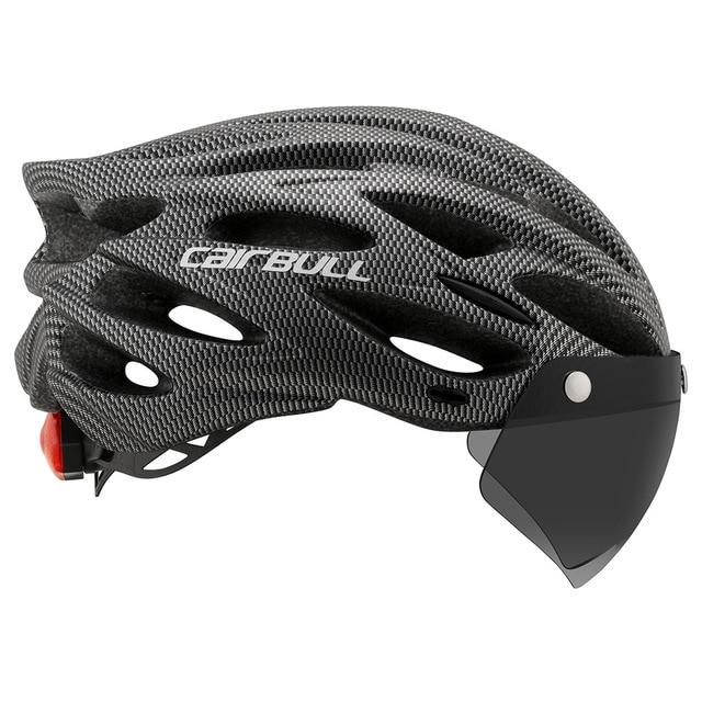 Cairbull ultraleve ciclismo capacete com viseira removível óculos de proteção da bicicleta lanterna traseira intergrally-moldado mountain road mtb capacetes 230g 3