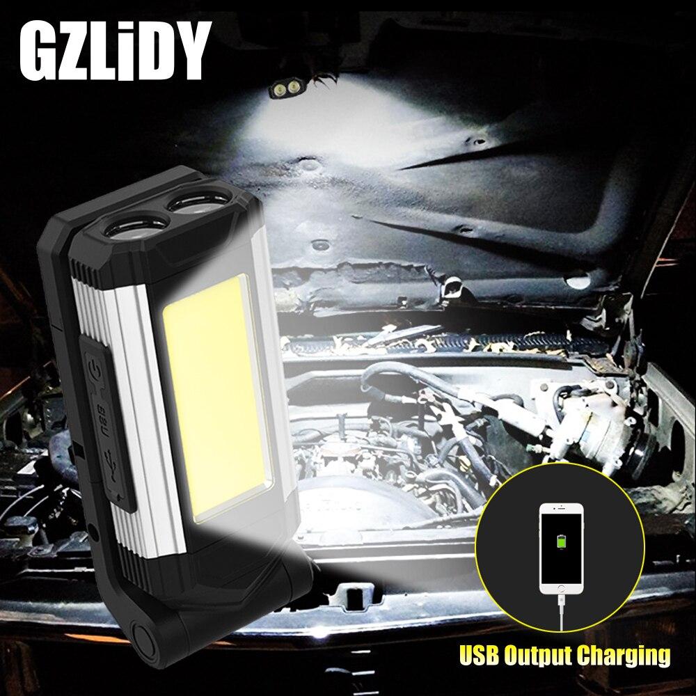 Lampe de travail COB avec aimant lampe de poche LED lampe de Camping réglable multifonctionnelle torche étanche lanterne Rechargeable USB