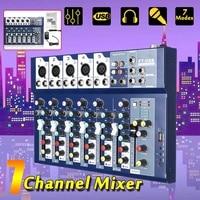 LEORY 7 Channel USB Mini Portable Mixer Live Studio Audio Mixing Console DJ Sound MP3 Jack 48V For Karaoke KTV Match Party