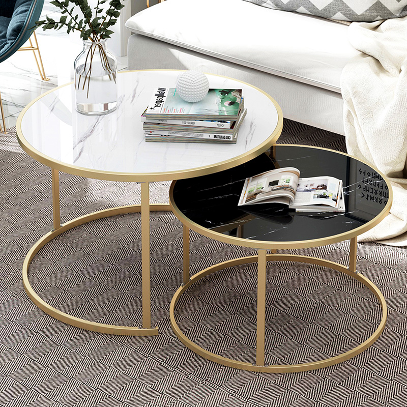Creative Nordic Golden Metal Coffee Table Living Room Sofa Beside Round Coffee Tea Table Desk Combination Home Furniture 2 In 1