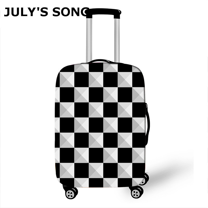 JULY'S SONG Luggage Protective Cover For 18-32inch Trunk Trolley White Black Plaid Elastic Suitcase Cover Travel Accessories