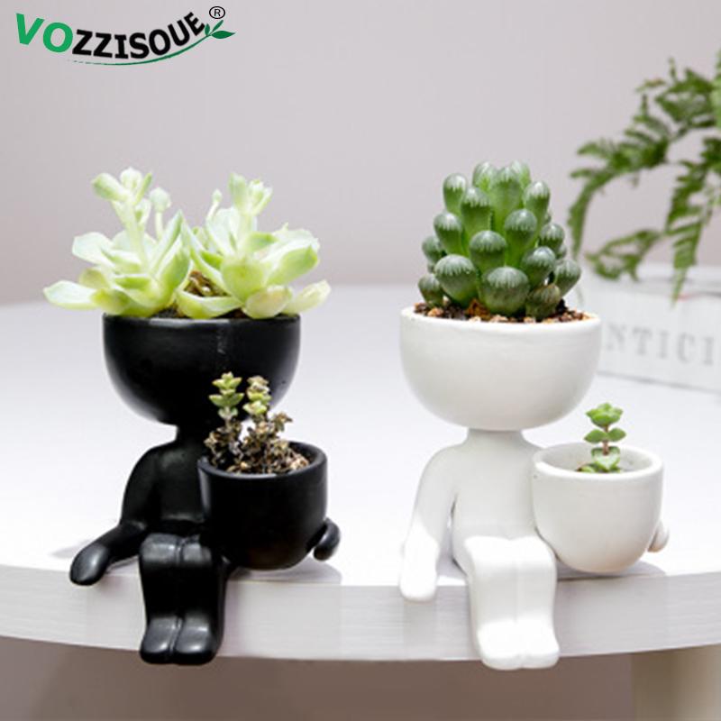 Humanoid Ceramic Planter Cute Flower Pot Succulent Vase Flowerpot Cactus Bonsai Flower Arrangement Pot Home Decoration Small Pot Flower Pots Planters Aliexpress
