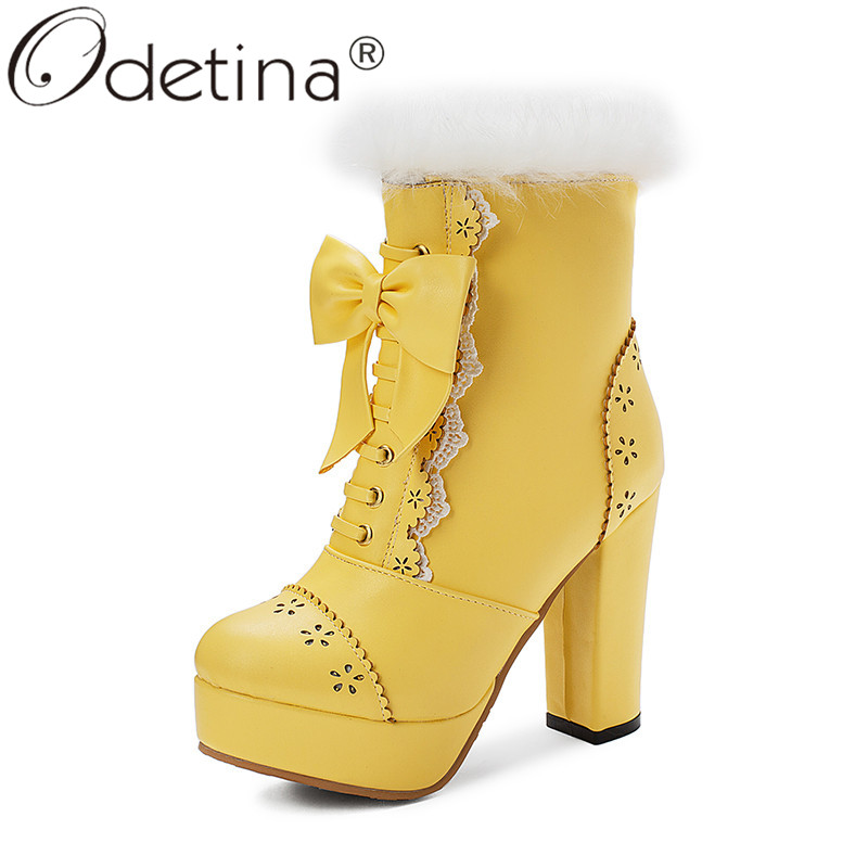 Odetina Womens Rabbit Fur Platform Zip Up Block High Heel Ankle Boots Sweet Round Toe Bowknot Cosplay <font><b>Lolita</b></font> <font><b>Shoes</b></font> Plus Size 48 image