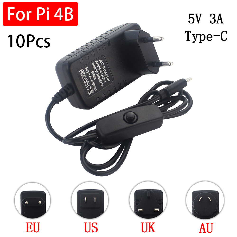 10 Pcs Raspberry Pi 4 Power Supply 5V 3A Type C Power Adapter ON/OFF Switch EU US UK AU USB-C Charger For Raspberry Pi 4 Model B