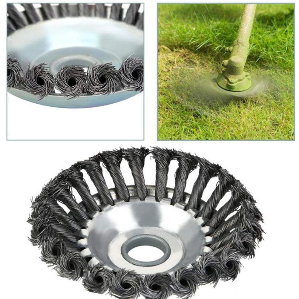 New 6/8inch Weed Brush Grass Trimmer Head Twist Steel Wire Wheel Disc Mower Cutter