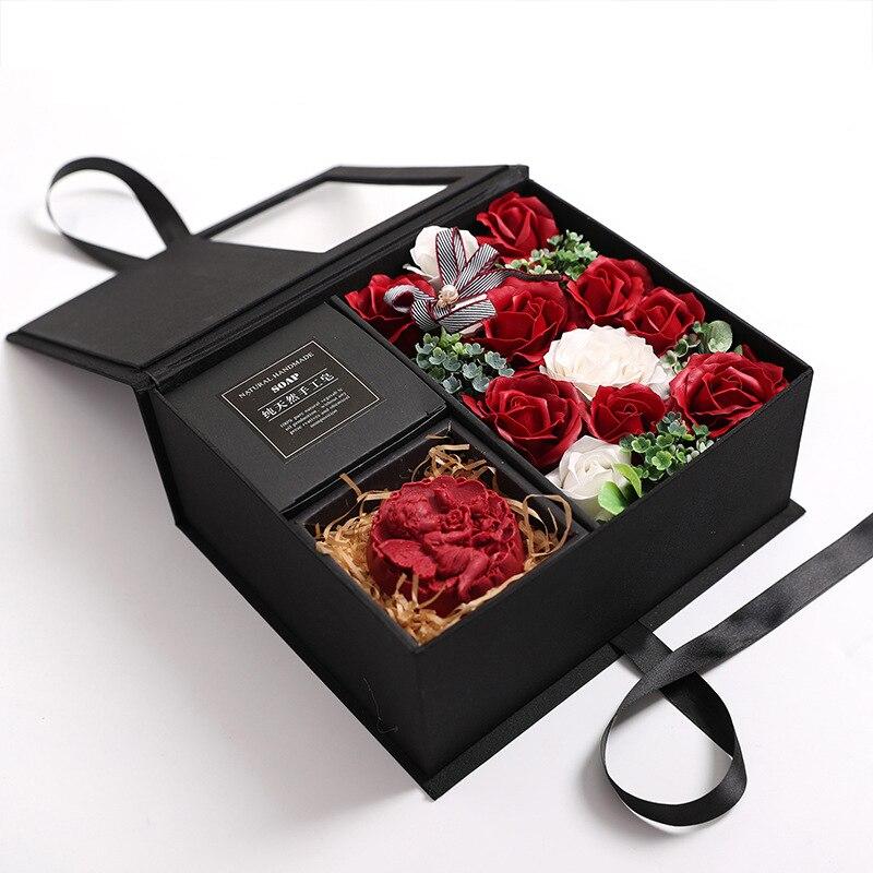 Caja de regalo de lápiz labial de rosa de jabón 16 Uds. Cajas de jabón hechas a mano de flores caja de embalaje de regalo de fiesta regalo Lámpara LED de tira de seta de 2 metros y 30 pulgadas con caja de batería, Lámpara decorativa para fiestas de jardín, cable en miniatura para el hogar, regalo para niños