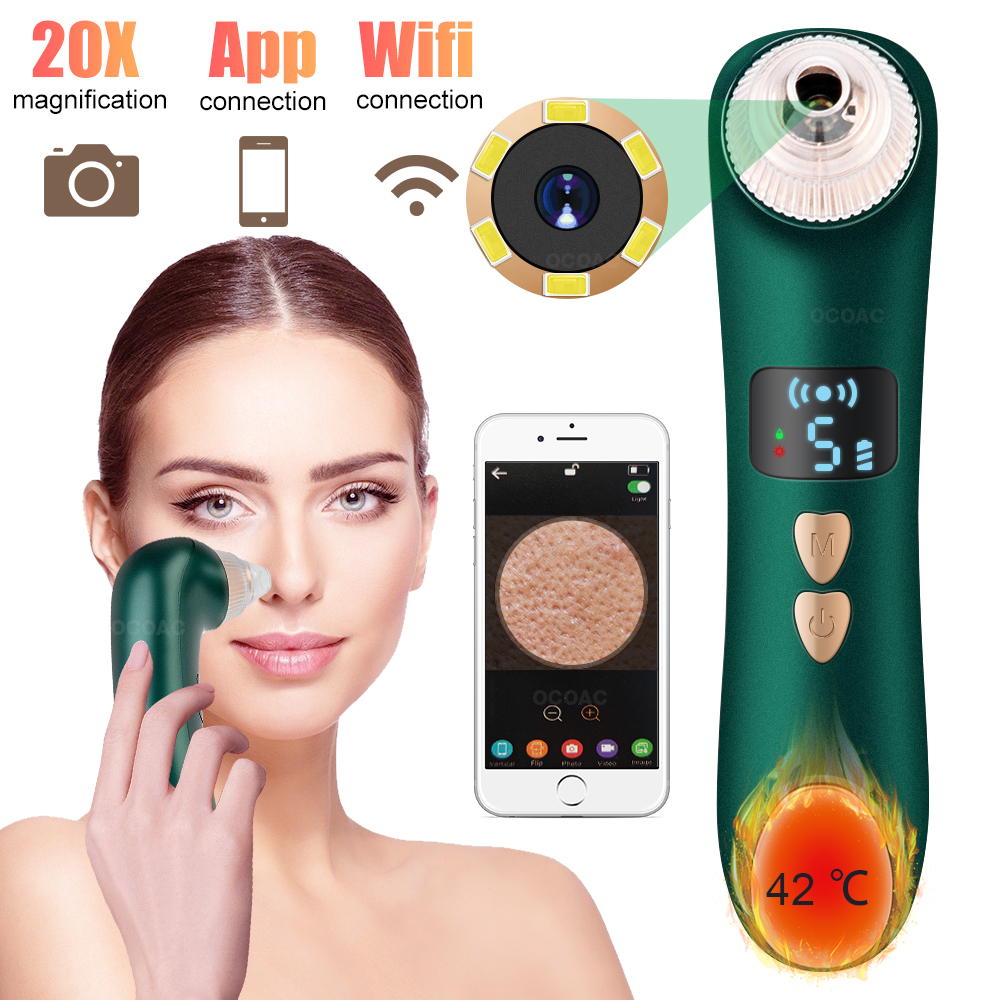 Visual Blackhead Remover Camera LCD Electric Vacuum Heating Pore Cleaner Acne Removal Nose Face Deep Cleansing Beauty Device
