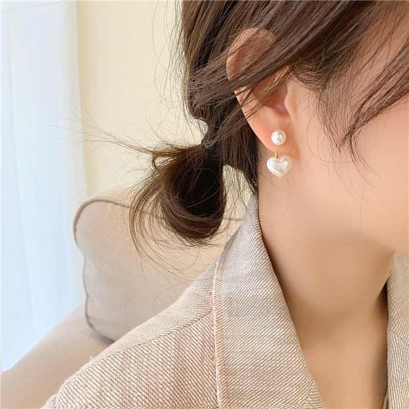 Women Fashion Pearl Flower Drop Dangle Earrings Ear Stud Jewelry Double Layer