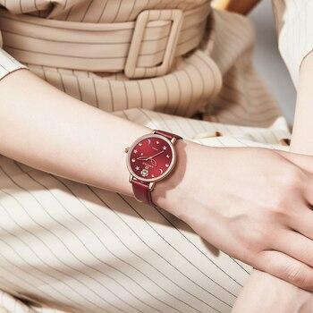NAVIFORCE Vrouwen Horloges Top Merk Luxe Mode Vrouwelijke Quartz Horloge Dames Lederen Waterdichte Meisje Klok Relogio Feminino