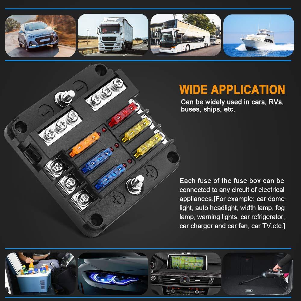 Iztoss 8 Circuit LED Fuse Block Blade Fuse Box with screw terminal block single plastic bag for Car Boat Marine Trike