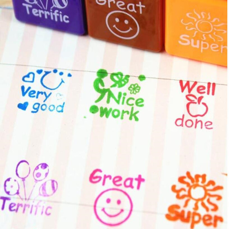 6pc set Teachers Praise Phrase Reward Stamps Kindergarten Children Kids Self Inking Stamper DIY Craft Toys Cartoon English Words