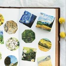 45 unids/lote de Van Gogh pintura de aceite Mini pegatina de papel para decoración Diy tu álbum diario Scrapbooking etiqueta papelería de Kawaii