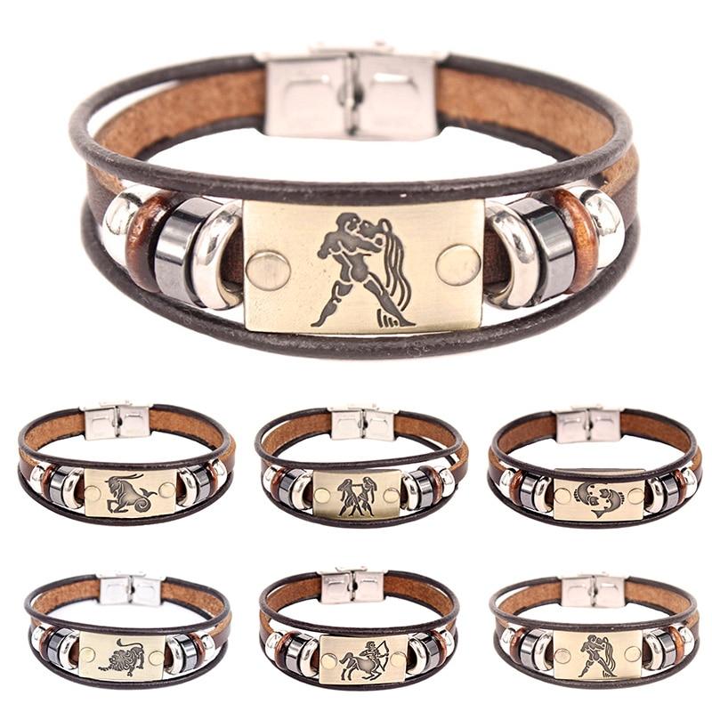 Прямая поставка, Лидер продаж, Европейская мода, двенадцать знаков созвездий, браслет с застежкой из нержавеющей стали, кожаный браслет для