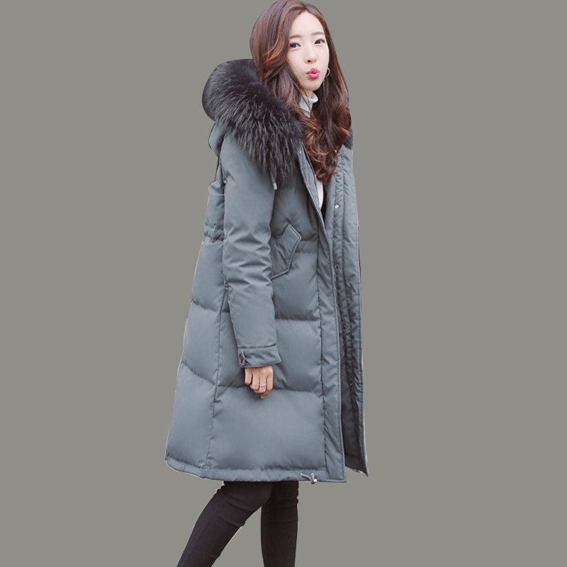 Fur Exquisite Collar Women's Down Jacket 2020 Thick Winter Coat High Quality White Duck Down Coats Abrigo Mujer WXF139 S