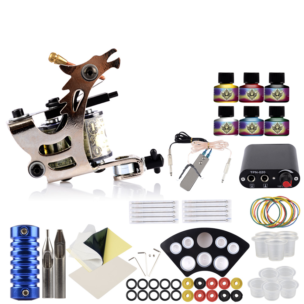 Starter Tattoo Kit 1 Tattoo Machines Gun Set 6Pcs Inks Pigment Body Art Power Supply Accessories Beginner Tattoo Machine Set
