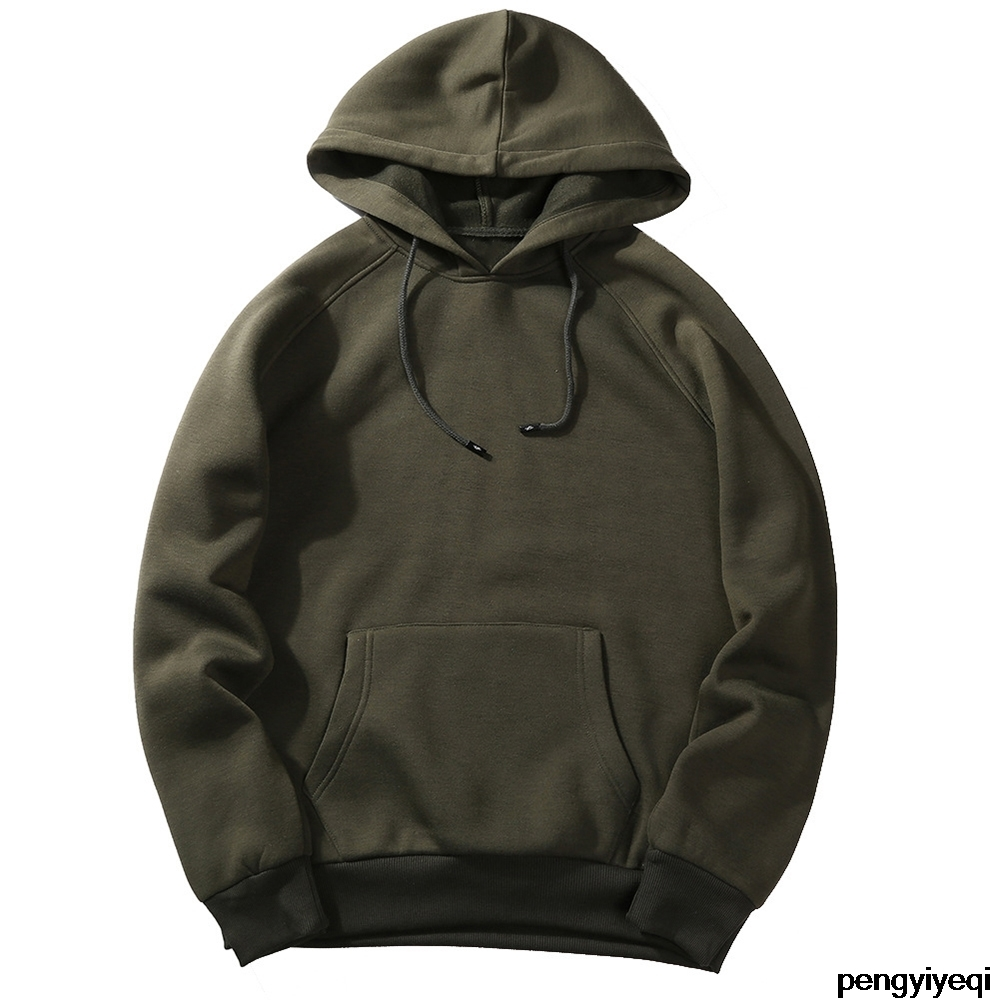 2020 New Casual Fashion Pure Color Hoodie Sweatshirt Men Thicken Clothes Winter Sweatshirt Men Hip Hop Street Wear Men's Hoodie