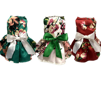 Spring Summer Pet Skirt For Dog Dress Clothes Small Dogs Big Flower Dresses Princess Bow Decor Puppy Cat Clothing