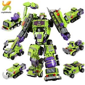 Image 3 - 709PCS 6IN1 שינוי הנדסת כלי רכב רובוט אבן בניין מכונית חופר משאית עיר בנאי ילדי לבנים צעצועים