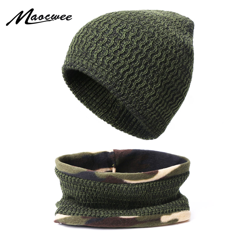 Two-piece Scarf And Hat Women Beanie Cap Knitted Skullcap Autumn Winter Warm Casual Hats Unisex Keep Elastic Hats Outdoor