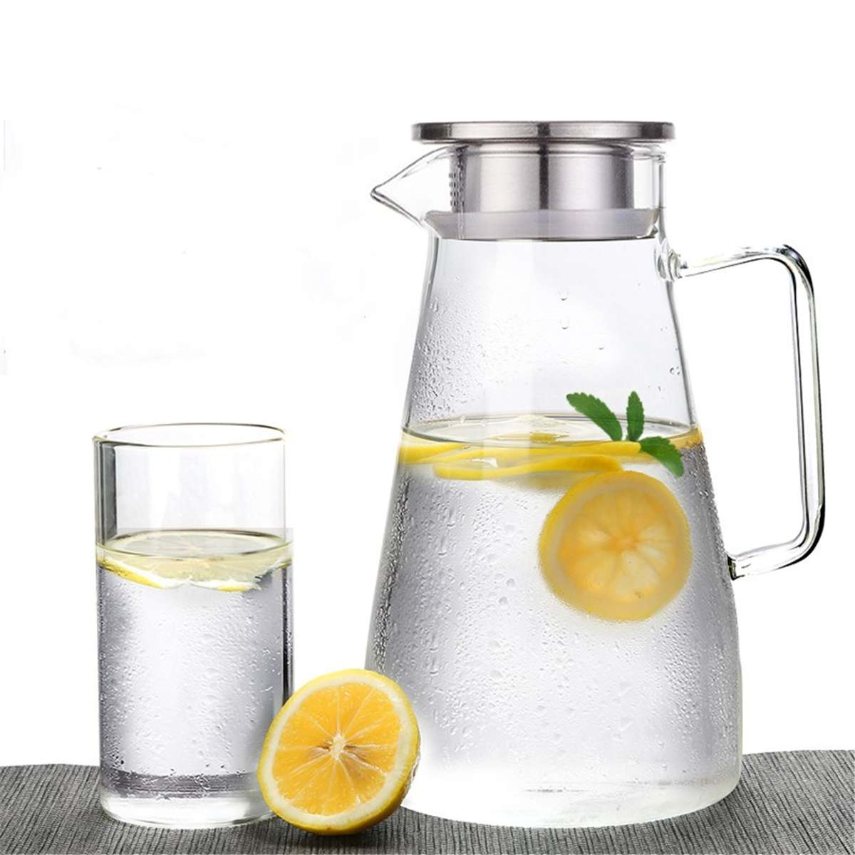 1/2X 1.5L Clear Glass Pitcher Jug Water Drinking Stainless Tea Pot Carafe+Filter Jug Water Drinking Teapot
