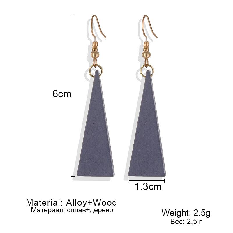 Hot Sale Vintage Personality Fashion Triangle Geometric Wood Earrings Green Brown Long Wooden Dangle Drop Earrings Wedding Gift