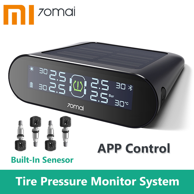 Xiaomi 70mai Tire Pressure Monitor Tpms Solar Power Usb Android USB Tmps 70 Mai Car Sensors System Alarm