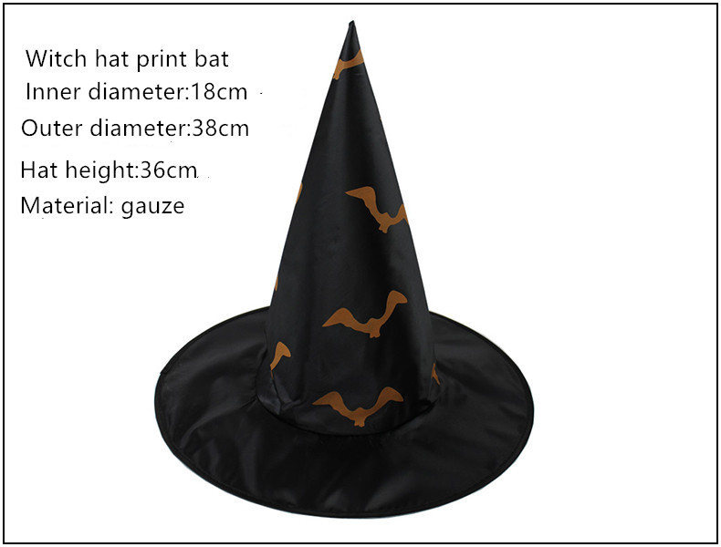 Halloween Ball Party Hat Witch Hat Sorcerer Hat Print Pumpkin Black Pointed Cap For Kid