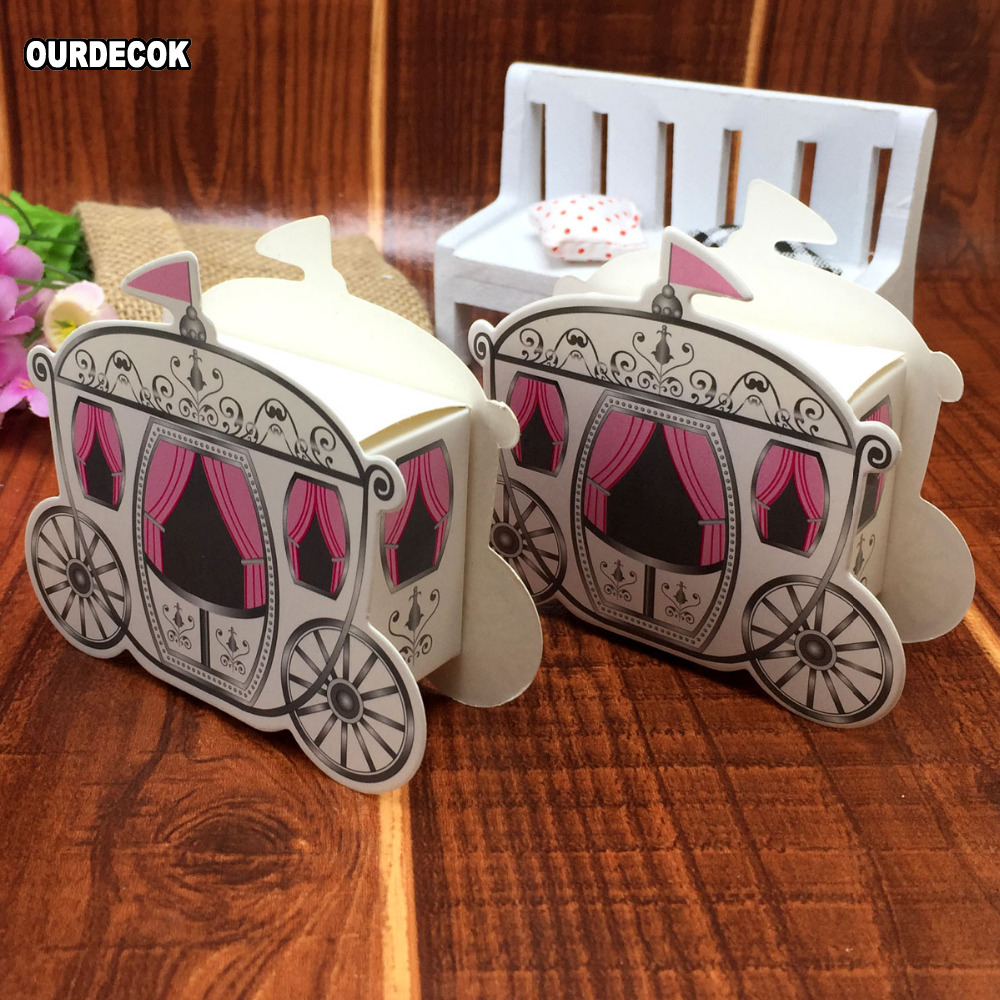 Cinderella Carriage Candy Chocolate Boxes Wedding Party Favour Decor Box Solid