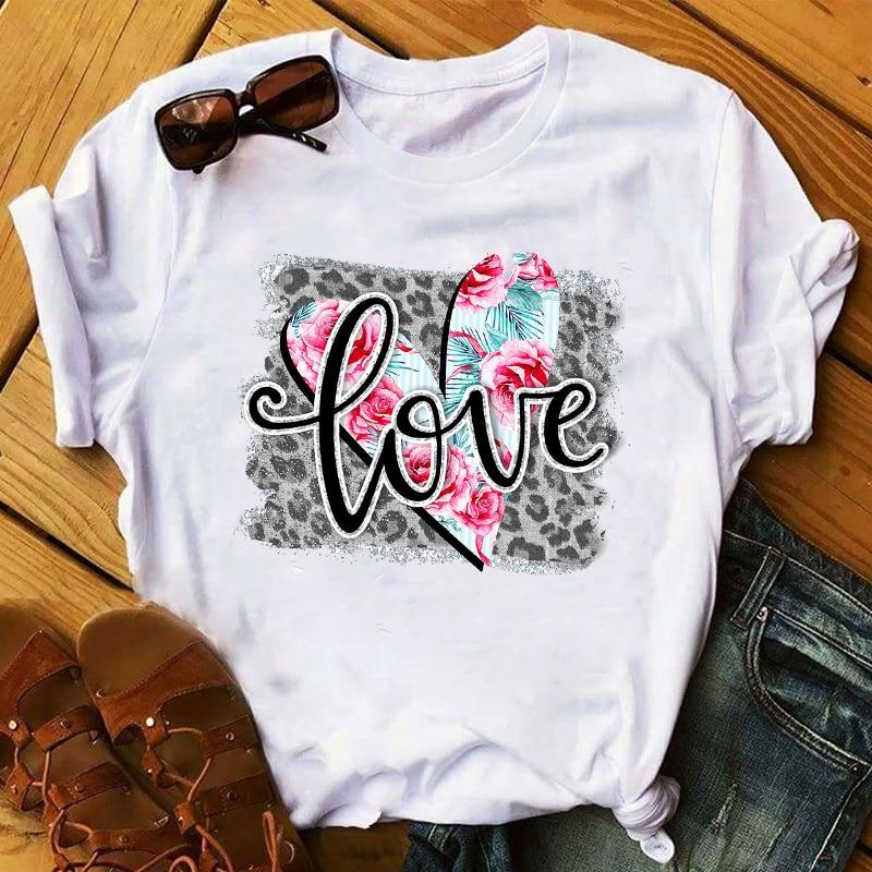 Women 2020 Fashion Leopard Flower Sweet Love Lady Ladies Womens Tee T-Shirt Graphic Female Valentine's Day Top T Shirt T-shirts