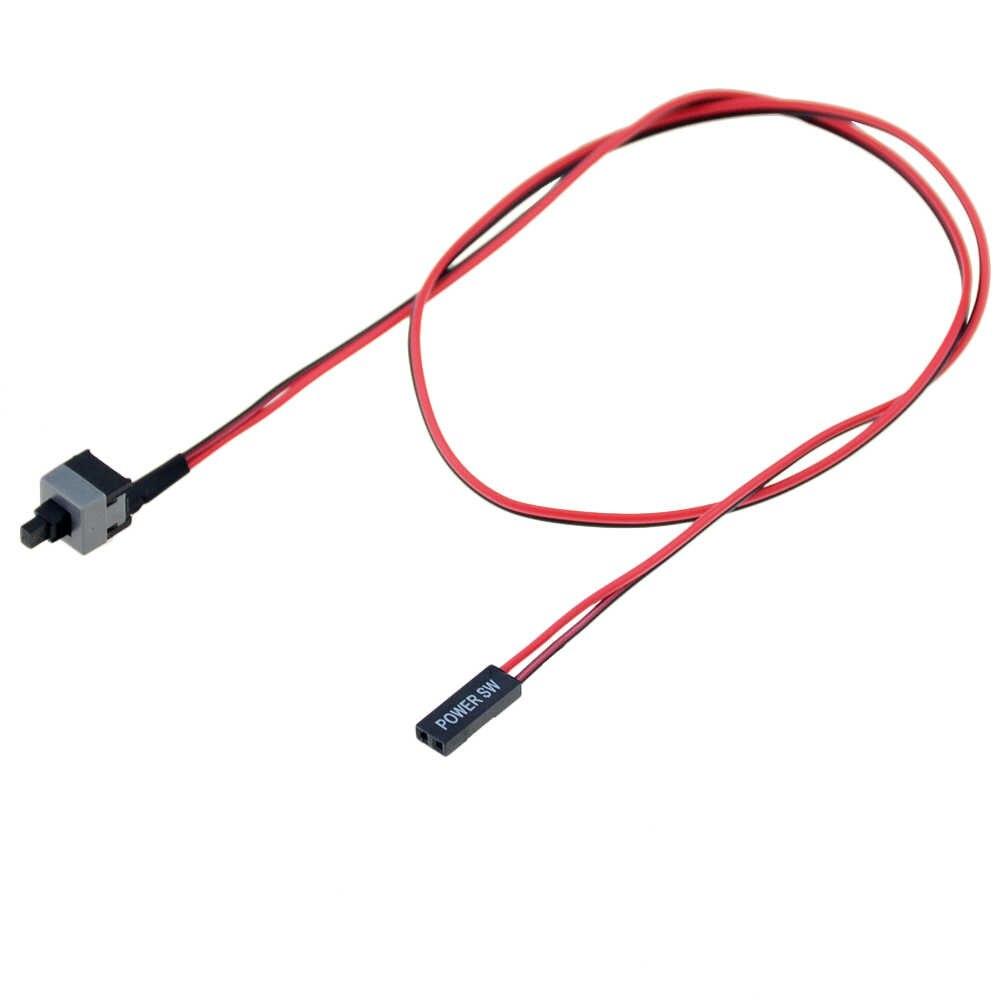 Cable interruptor de botón de encendido de 50cm de largo 5 uds. Para interruptores de PC reiniciar la alimentación del ordenador pulsador de reinicio automático SW