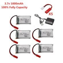 Jst plugue 3.7v 1000mah lipo bateria + carregador para x400 x500 x800 hd1315 hj818 hj819 x25 rc quadcopter zangão peça de reposição vs 800mah