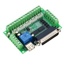 1pc mach3 máquina de gravura 5 eixos cnc breakout board com acoplador óptico para controlador de acionamento do motor deslizante sem cabo usb