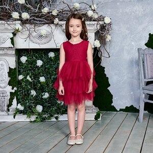 Image 4 - 2020 Новое Кружевное платье для девочек из тюля, детские платья принцессы для девочек, вечерние платья на свадьбу с поясом, одежда для малышей, От 1 до 6 лет, E1953