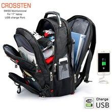 Crossten durável 17 Polegada portátil mochila, 45l bolsa de viagem, faculdade bookbag, porta de carregamento usb, resistente à água, suíço-multifuncional