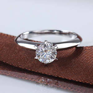 Image 2 - Starsgem תכשיט אופנה 18K זהב מצופה 925 כסף 6 טפרי 0.5/1ct F moissanite טבעת המחיר הטוב ביותר moissanite טבעת לנשים
