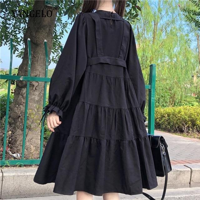 Yangelo Harajuku Women Black Midi Dress Gothic Punk Style Suspenders Bandage Dress Vintage Ruffles Long Baggy Cosplay Costume 5