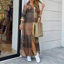 Women Elegant Print Slit Shirt Dress Summer Lapel Neck Maxi Boho Dress Casual Loose Button Long Sleeve Beach Dresses Vestidos
