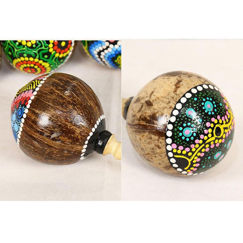 Coconut Shell Sand Hammer Shaker Gourd Kashaka Indonesia Shaker Rattle Percussion Musical Instrument Toy