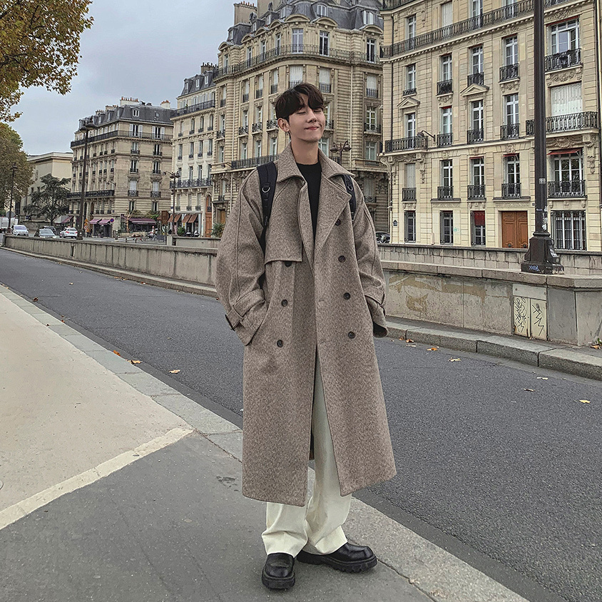 2019 Winter New Japanese Retro Long Solid Color Woolen Fashion Casual Big Pocket Lapel Loose Jacket Coat Beige / Gray S-XL