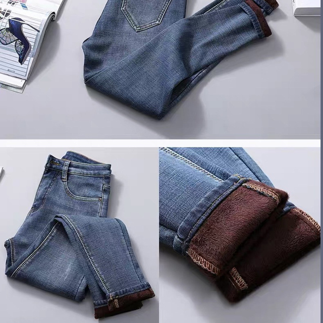 Newly Women High Waist Thermal Jeans Fleece Lined Denim Pants Stretchy Trousers Skinny Pants  m99