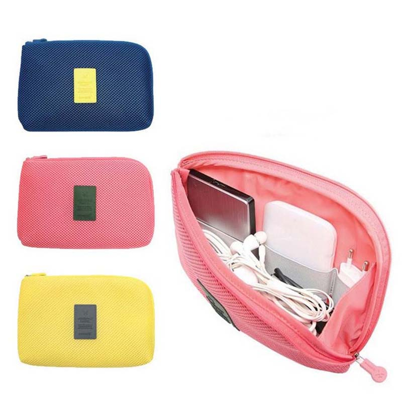Travel Storage Bag Mesh Cloth For Digital Gadget Cable USB Cable Earphone Pen Cosmetic Bags Organizer Shockproof